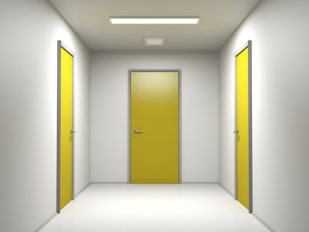 ending: Corridor ending with three yellow doors