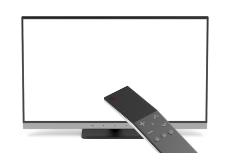 widescreen: Widescreen tv and smart remote control Stock Photo
