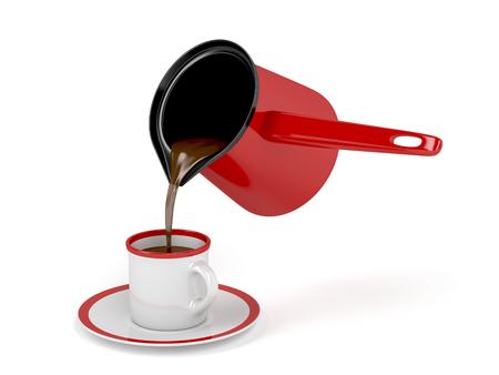 Gießen frisch zubereiteten Kaffee aus Kaffeekanne