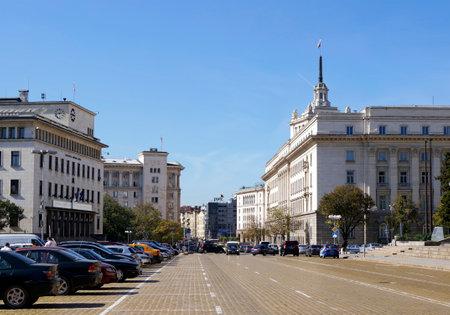 traffic building: SOFIA, BULGARIA - OCTOBER 01, 2014: Prince Alexander of Battenberg square in Sofia, Bulgaria