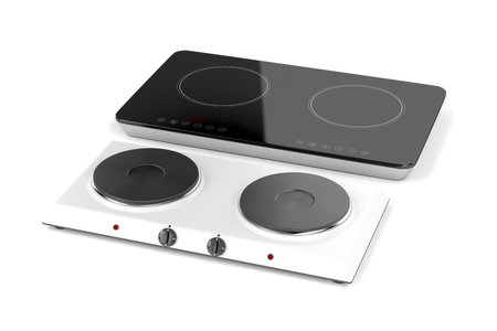 double oven: Double hot plate and induction cooktop on white background