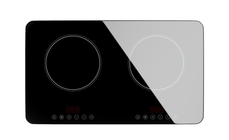 double oven: Top view of double induction cooktop isolated on white