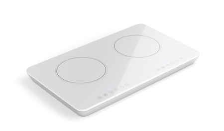 double oven: Modern white ceramic cooktop on white background