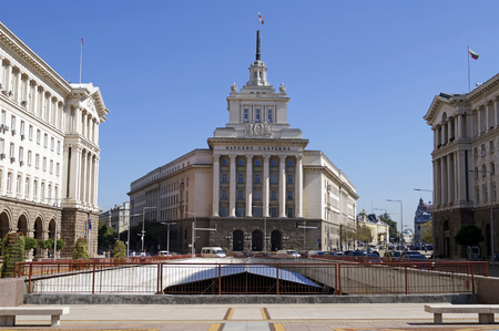 SOFIA, BULGARIA - SEPTEMBER 30, 2014: National Assembly former Communist Party House, Council of Ministers and the Presidency buildings on Independence square in Sofia, Bulgaria