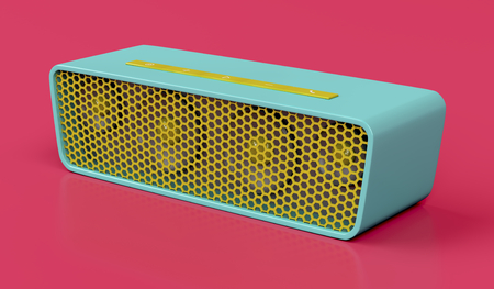 Bluetooth speaker on red background Stock Photo