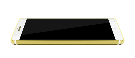 wireless telephone: Modern white and gold colored smartphone on white background