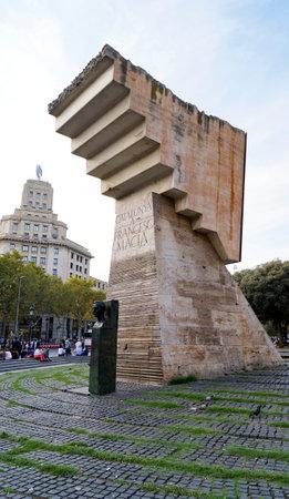 francesc: BARCELONA, SPAIN - OCTOBER 10, 2015: Francesc Maci monument at Placa de Catalunya in Barcelona, Spain.