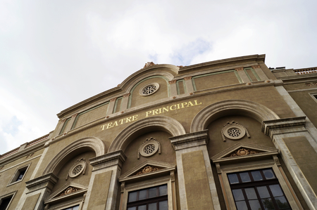 ramble: BARCELONA, SPAIN - OCTOBER 09, 2015: Front view of Teatre Principal at La Rambla street in Barcelona, Spain