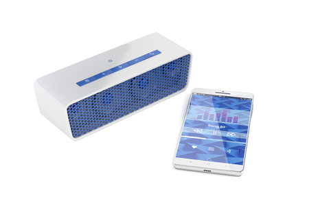 handsfree phone: Playing music from smartphone on wireless portable speaker