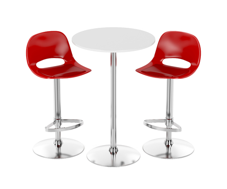 tall: Bar table and stools on white background