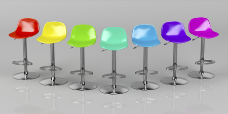stools: Unique colorful bar stools on shiny gray background, front view