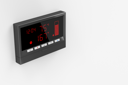 temperature controller: Central water heater control panel on gray wall