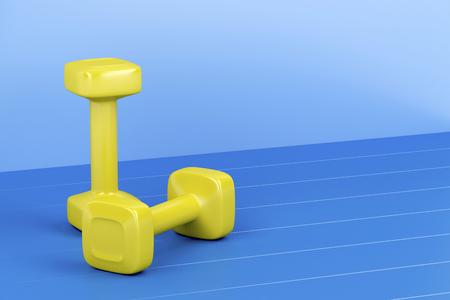 shiny floor: Two yellow dumbbells on shiny blue floor