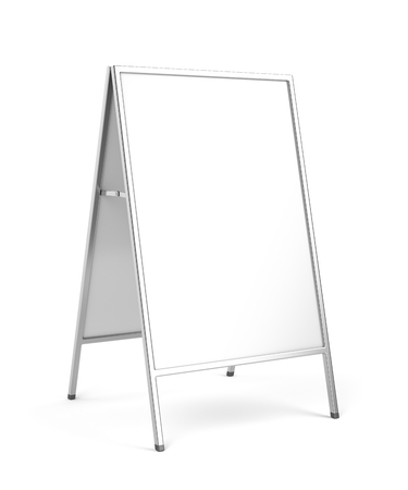 commercial sign: Advertising stand with silver frame on white background
