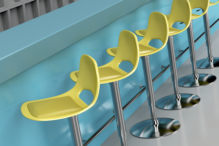 furniture design: Row of modern bar stools at the bar Stock Photo