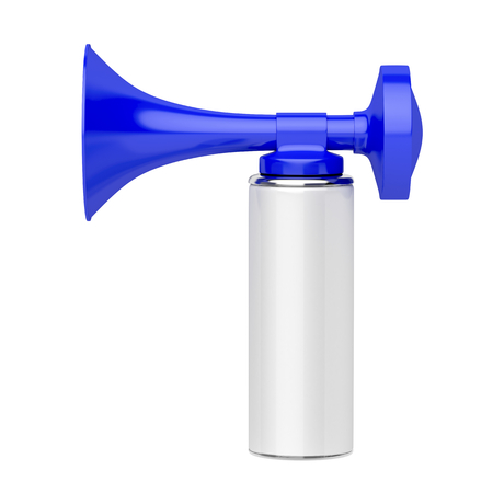 horns: Portable air horn isolated on white background Stock Photo