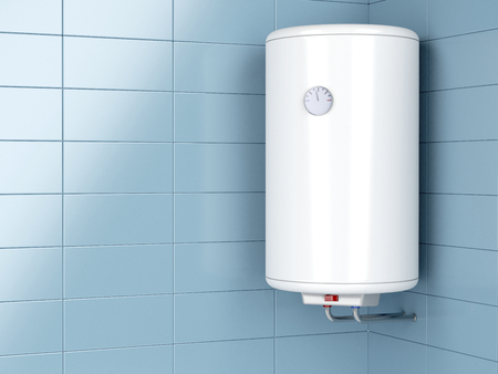 thermodynamic: Water heater in the bathroom Stock Photo