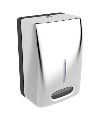 sterilize: Silver soap dispenser isolated on white background