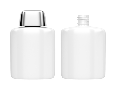 aftershave: Open and closed containers for aftershave lotion or perfume, isolated on white