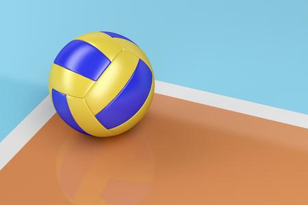 shiny floor: Leather volleyball ball on shiny floor