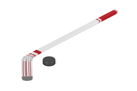 puck: Ice hockey stick and puck on white background
