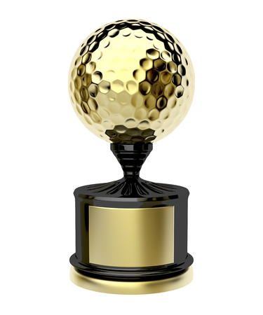 trophies: Golden golf trophy isolated on white background