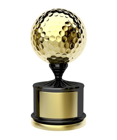 trofeo: trofeo de golf de oro aislado en el fondo blanco