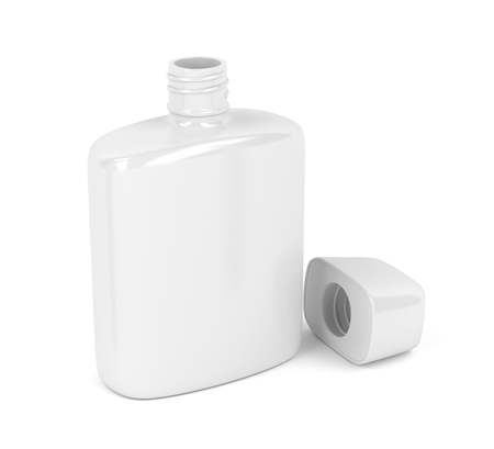 aftershave: Open white bottle for aftershave lotion or perfume on white background Stock Photo