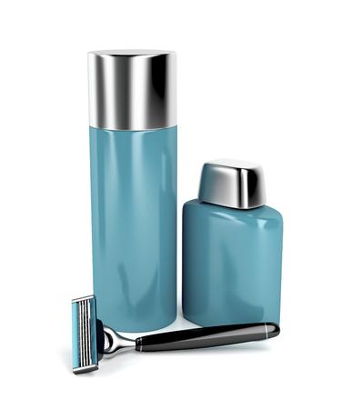 productos de aseo: maquinilla de afeitar de seguridad, espuma de afeitar y bálsamo para después del afeitado