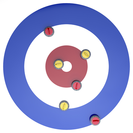 Top view of curling stones on ice Stock Photo
