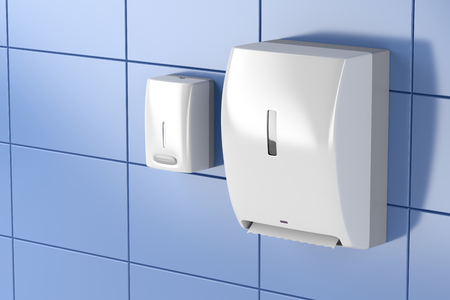 Paper towel dispenser and soap dispenser in public toilet