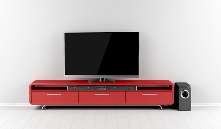 Tv with soundbar and subwoofer on tv stand Stockfoto