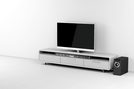 Flat screen tv with audio system on tv stand