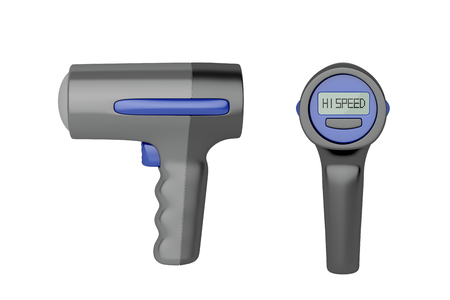 speed gun: Side and back view of radar speed gun, isolated on white background Stock Photo