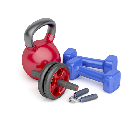 gripper: Abdominal toning wheel, hand gripper, pair of dumbbells and kettlebell on white background