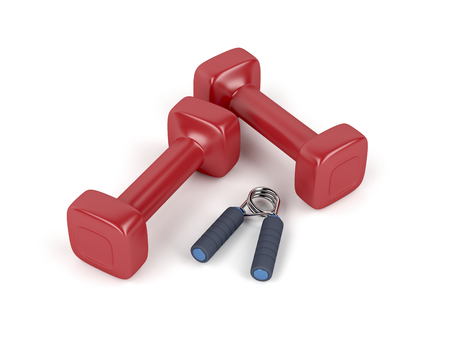 hand gripper: Pair of dumbbells and hand gripper on white background