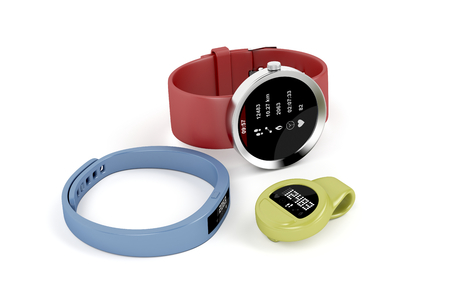 bpm: Smartwatch and activity trackers on white background