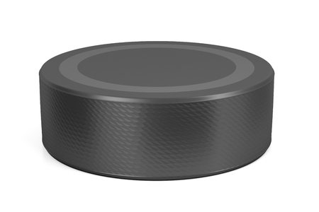 puck: Ice hockey puck on white background Stock Photo