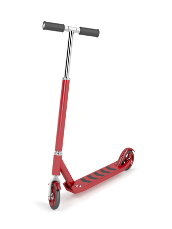 Red kick scooter on white background Standard-Bild
