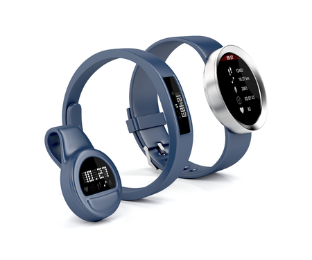 Smartwatch, wristband and clip-on activity trackers on white background