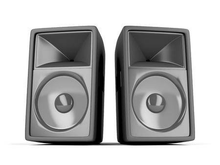 orador: Par de grandes altavoces en el fondo blanco
