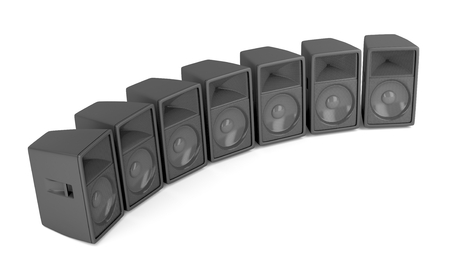 Set of powerful stage speakers on white background