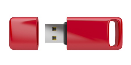 dongle: Red usb stick isolated on white background