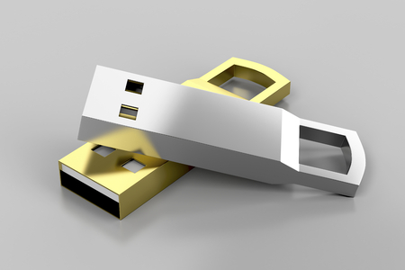 dongle: Stylish silver and gold colored usb flash drives