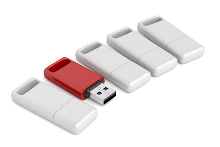 dongle: One open and different colored usb stick among others Stock Photo