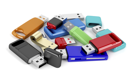 memories: Bunch of usb memory sticks with different designs and colors