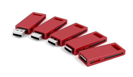 dongle: Slide usb flash drives on white background