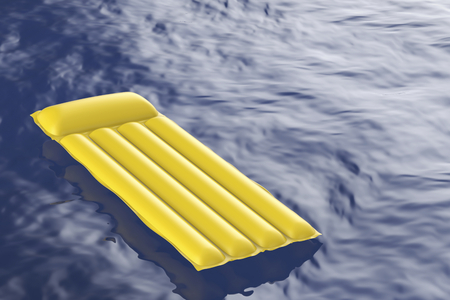 lilo: Yellow inflatable pool mattress floating on wavy water