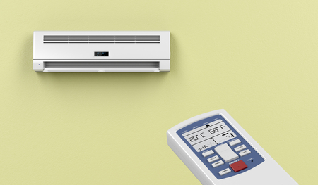 remote controlled: Remote controlled split system air conditioner Stock Photo