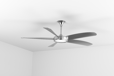 Silver ceiling fan with five blades Banque d'images